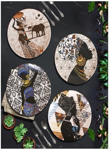 Keramika Servis Tabağı Renkli